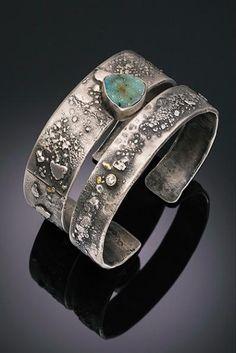 Tai Vautier Jewelry |  Rustic fused sterling silver bracelets with 22kt flecks,  diamond and chalcedony druzy: $495, $695