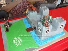 Homemade Knights and Dragons Castle Birthday Cake: My son, turning six, had a knight-themed birthday party at the Higgins Armory Museum so I made him a Homemade Knights and Dragons Castle Birthday Cake.