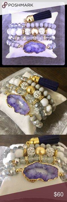 Violet Druzy Stacked Bracelet Set * GORGEOUSLY handcrafted 4 Pc set * Violet druzy stone beaded bracelet  * 2 beaded stacking bracelets * 1 beaded bracelet with tassel  * All stretch for adjusted fit * Display pillow included * White organza bag for gift option  * A MUST HAVE! Jewelry Bracelets