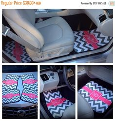 Christmas Delivery cut off for our monogrammed car mats has been extended to December 14th! Be the envy of your friends with our cute Monogrammed Car Floor Mats. Your car will be coolest ride in town with our monogrammed car floor mats! An adorable way to prep out your car.   {PRODUCT DETAILS} ~ 11oz needle punch ~ Rubber Durgan Backed ~ 27 x 17 (Front set) ~ 17 x 13 (Rear set) ~ Black, finished edges **Please keep in mind that these are decorative mats, they are not heavy duty.  {Car…