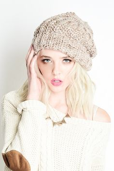Unisex Heathered mix chunky knit beanie from Ava Adorn