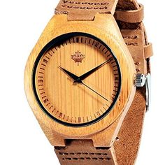 Tamlee Bamboo Wood Watch with Cow Leahter Strap Quartz Analog Unisex Wooden Wristwatch * Click image to review more details.