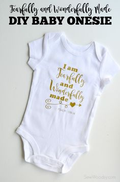 Baby girl gifts · fearfully and wonderfully made diy baby onesie onesie diy, baby onesie, baby shirts, Onesie Diy, T Shirt Diy, Onesies, Baby Onesie, Baby Gifts To Make, Cute Baby Gifts, Baby Girl Gifts, Baby Shirts, Kids Shirts