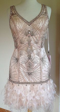 Sue Wong 1920's Art Deco Gatsby Blush Beaded Feather Wedding Bridal Dress 10 | eBay