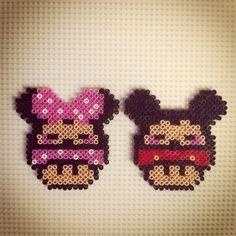 Minnie and Mickey Mouse mushroom hama beads by hadavedre