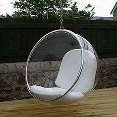 Bubble Ring Chair     Ultra modern, cool chair with chain for hanging, and now available with a stand. Made of clear acrylic and comes with vinyl cushions in white, black or red. The chair is suspended with 8ft of chain for a floating, bubble-like sensation. The stand is available if you prefer not to hang from the ceiling. $1550