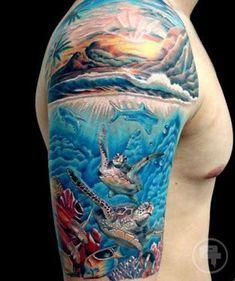 Tattoo sleeve ocean Ideas for 2019 Ocean Sleeve Tattoos, Ocean Tattoos, Shark Tattoos, Beach Tattoos, Frog Tattoos, Sea Life Tattoos, Sunset Tattoos, Body Art Tattoos, Underwater Tattoo