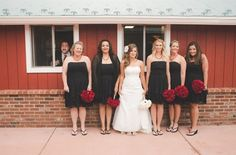 This lovely shot of the bride with all of her bridesmaids and, oh, I guess Gary was there too.