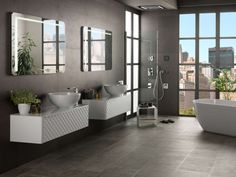 How to decorate an urban bathroom: minimalism and light to get a relaxing and comfortable. Modern Bathtub, Modern Bathroom Decor, Bathroom Trends, Contemporary Bathrooms, Bathroom Interior Design, Bathroom Furniture, Bathroom Shop, Bathroom Fixtures, Washroom