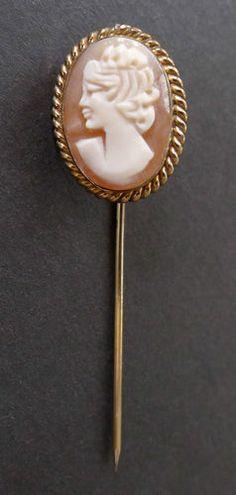 Antique Vintage Shell Cameo 12K GF Gold Stickpin Hat Pin Old Victorian Era   eBay