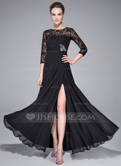 568af307284fc A-Line Princess Scoop Neck Floor-Length Chiffon Lace Evening Dress With  Ruffle