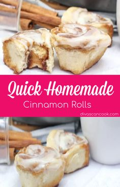 Gooey quick cinnamon rolls that bake up soft and chewy! Crowd pleasing recipe with a homemade cream cheese glaze and brown-sugar cinnamon filling. Single Serve Desserts, Desserts For A Crowd, Great Desserts, Delicious Desserts, Yummy Food, Quick Cinnamon Rolls, Cinnamon Roll Cookies, Hot Fudge Cake, Hot Chocolate Fudge
