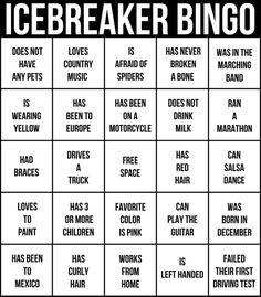 Over 600 Icebreakers Games: Hundreds of ice breaker questions, team building games and warm-up activities for your small group or team by Jennifer Carter. Description from pinterest.com. I searched for this on bing.com/images Ice Breaker Bingo, Ice Breaker Games For Adults, Group Ice Breaker Games, Family Reunion Games, Class Reunion Ideas, School Reunion, Family Games, Party Games Group, Block Party Games