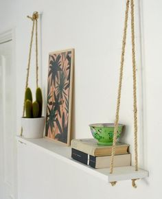 DIY Bedroom Decor Ideas -Easy Room Decor Projects for Home DIY Bedroom Decor Ideas - Easy Room Decor Projects for The Home - Cheap Farmhouse Crafts, Wall Art Idea, Bed and Bedding, Furniture Diy Hanging Shelves, Rope Shelves, Hanging Rope, Floating Shelves, Window Shelves, Diy Shelving, Floating Nightstand, Wooden Shelves, Build Shelves