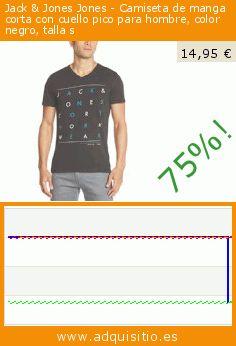 Jack & Jones Jones - Camiseta de manga corta con cuello pico para hombre, color negro, talla s (Ropa). Baja 75%! Precio actual 14,95 €, el precio anterior fue de 59,90 €. https://www.adquisitio.es/jack-jones/jones-camiseta-manga-480