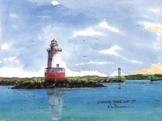 Stamford Harbor Light, Stamford Watercolor prints and note cards of over 250 lighthouses all over the USA.  Start your collection today. Original paintings by sailor/artist  Alfred La Banca, Darien, CT