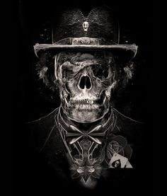 digital art | illustration | photoshop |skull | poker gentleman