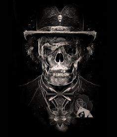 digital art | illustration | photoshop |skull | poker gentleman