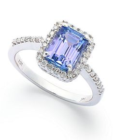14k White Gold Ring, Tanzanite (1-1/2 ct. t.w.) and Emerald-Cut Diamond (1/4 ct. t.w.) Ring - Rings - Jewelry & Watches - Macy's