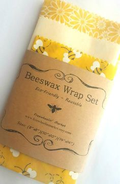 Reusable beeswax food wraps are an eco-friendly alternative to plastic wrap. They keep foods fresh as the beeswax provides a natural seal. Plus the wraps themselves smell wonderful! This set includes one each of: 8, 10, and 14. Choose square or round wraps. Each set will have one