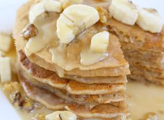 whole wheat banana pancakes with warm maple glaze
