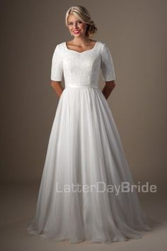 Vintage Lace Chiffon Half Sleeves Modest Wedding Dresses 2016 Sleeves Simple Buttons Bridal Gowns A-line Informal Sale Wedding Gowns New Modest Wedding Gowns, Wedding Dress Sash, Modest Dresses, Formal Gowns, Bridal Dresses, Bridesmaid Dresses, Dresses With Sleeves, Lace Wedding, Dresses 2016