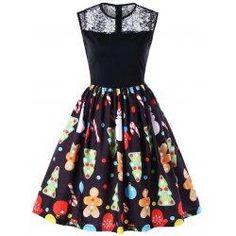 #BFCM #CyberMonday #trendsgal.com - #Trendsgal Christmas Print Flare Midi Dress - AdoreWe.com