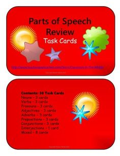 This set includes thirty half-page task cards. The cards have white backgrounds with bright and colorful borders. Each card includes a short activity for practice with one or more parts of speech. There are three cards each about nouns, verbs, pronouns, adverbs, adjectives, prepositions, and conjunctions, and one card about interjections. In addition, there are eight cards that are each about several or all of the parts of speech. $