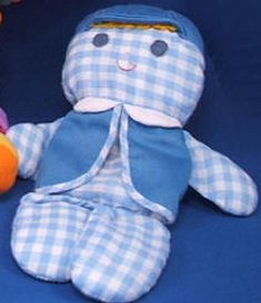 Searching – 70′s Fisher Price CHOLLY BLUE Gingham Boy DOLL