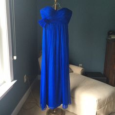 """Kurt Thomas Cobalt Blue Strapless Gown Elegant bright blue, silk gown. Special occasion/formal/homecoming?? Sweetheart neckline w/loose knot detail under right side of bust. Boning in bodice, hidden side zip, lined. 54"""" long. Worn once. (Pic 1 is actual, other from Internet) Kurt Thomas Dresses Prom"""