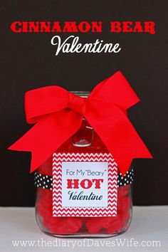 Cinnamon Bear Valentine with Free Printable Tag. #Valentine #Candy #Gift