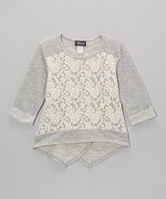 Grown-up charm meets playful style with this lovely embellished piece. Its sporty silhouette gets a ladylike look from a layer of lace and a trendy split back and hi-low hem. Baby Outfits, Little Girl Outfits, Kids Outfits, Fashion Kids, Baby Girl Fashion, Fashion Clothes, Tween Mode, Creation Couture, Kids Wear