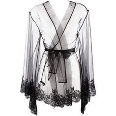 I.D.SARRIERI lace trim dressing gown (€840) ❤ liked on Polyvore featuring intimates, robes, lingerie, underwear, pajamas, sleepwear, sheer lace lingerie, lace robe, sheer robe и transparent lingerie