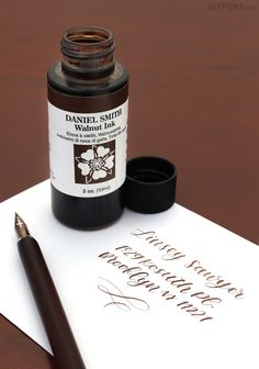 This warm sepia-colored ink replicates the color of traditional walnut-based inks using modern fade-resistant pigments. Calligraphy Supplies, Beautiful Handwriting, Jet Pens, Pretty Packaging, Penmanship, Stationery, Ink Cartridges, Fountain Pens, Bottle
