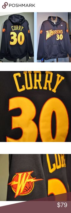 "Steph Curry Throwback Jersey Hooded sweatshirt Limited release  ""Wear what the pros wear!""  Brand New with tags-  Golden State Warriors NBA Throwback Jersey Hooded sweatshirt with embroidered Name , number and appliqué graphics. Cozy interior lined fleece, breathable double layer hood with metal tip draw string.  ALL NUMBERS , LETTERING & LOGOS ARE PROFESSIONALLY  EMBROIDERED , SEWN & STITCHED INTO THIS GREAT ITEM.... WE ALSO 100 % GUARANTEE THIS ITEM IS WELL MADE, OR YOU CAN SEND IT BACK…"