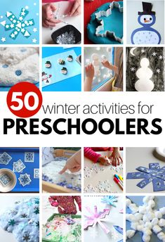You will never run out of winter activities for preschoolers with this awesome list full of over 50 ideas for winter crafts, winter sensory play, and books. Circle Time Activities, Graphing Activities, Snow Activities, Alphabet Activities, Preschool Activities, Preschool Teachers, Language Activities, Preschool Lesson Plans, Snowman Crafts