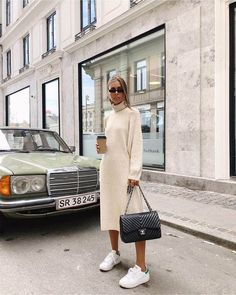 Langarm Kleid / Street Style Mode / The Effective Pictures We Offer Trend Fashion, Fashion Mode, Look Fashion, Womens Fashion, Fashion Styles, Fashion Tips, Autumn Street Style, Street Style Women, Street Styles