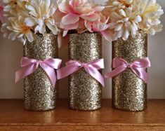 Unusual Idea Pink And Gold Centerpieces 3 Vases Wedding Baby Shower Centerpiece For pink and gold mason jar centerpieces. centerpieces for baptism. diy hot balloon shower first floral Petty Regi Baby Shower Menu, Baby Shower Wishes, Cheap Baby Shower, Bridal Shower, Gold Wedding Centerpieces, Baby Shower Centerpieces, Baby Shower Decorations, Wedding Decorations, Table Decorations