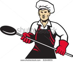 vector illustration of a baker holding baking pan with long handle done in retro style - stock vector #baker #retro #illustration