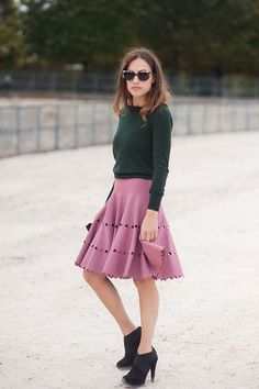 Silhouette is super chic but also loving hunter green and rose together.