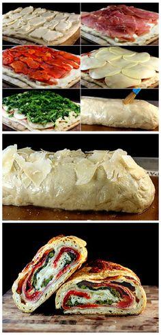 Three Cheese Broccoli, Roasted Red Pepper, Prosciutto Stromboli with a Crispy Asiago Crust Recipe: