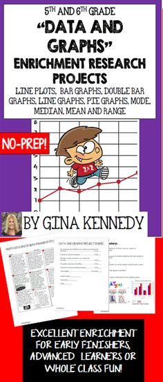 """With the """"Data and Graphs"""" math enrichment research projects, your students will be able to authentically research topics and communicate the data onto a requested graph in each product. The fun and creative projects utilize line plots, line graphs, bar graphs, double bar graphs, pie graphs, mode, median, mean and range.  Topics range from Michael Jordan, Olympic winner, expensive cars, in the United States and more. My students loved researching these topic and I enjoyed watching as..$"""