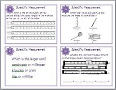 Set of 32 Scientific Measurement Task Cards will provide Middle and High School Students with Review and Reinforcement of the concepts found while studying Laboratory Procedures. The following concepts are covered in this set of Task Cards: Metric System, Length, Ruler, Graduated Cylinder, Volume, Measurement Conversions, Temperature, Celsius Scale, Thermometer, Triple-beam Balance, Weight, Time, Lab Tools, Displacement. $