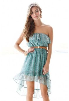 DITSY FLORAL STRAPLESS CHIFFON DRESS $24.99 this dress is great for casual especially for the spring and summer when it gets warmer