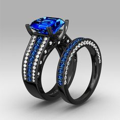 Blue Cubic Zirconia with Asscher Cut Black Women's Wedding Ring Set with 925 Sterling Silver. Not sure about the sapphire, If the main stone was a different gem it would be perfect! I am in love with the black band!