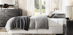 Lawson Non-tufted Shelter Fabric Bed Restoration Hardware Living Room, Slipcovered Headboard, Leather Platform Bed, Rh Rugs, Furniture Vanity, Queen Headboard, Home Hardware, Bed Styling, Queen Beds