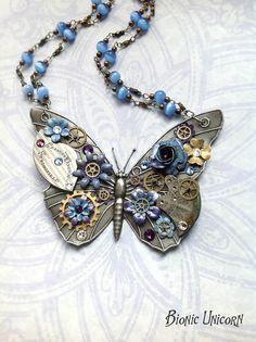 Steampunk Butterfly Necklace  Custom Design par bionicunicorn, $110.00