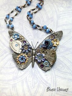 Steampunk Butterfly Necklace  Custom Design par bionicunicorn, $110.00