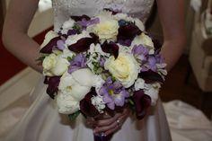 white phlox, deep purple callas, lavender freesia, white cabbage roses, white peonies, White Hall