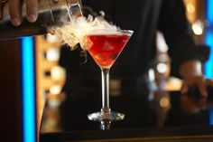 With 14 locations nationwide, Ocean Prime can be found in nearly every metropolitan area. In addition to perfectly cooked steaks and beautiful seafood towers, the brand also prides itself on its cocktail program. One of its signature cocktails, the Berries and Bubbles, adds a bit of theatrics to happy hour with the dry ice-induced smoke billowing out. The bright not-too-sweet drink is topped with a splash of bubbly, which always adds a bit of celebration.